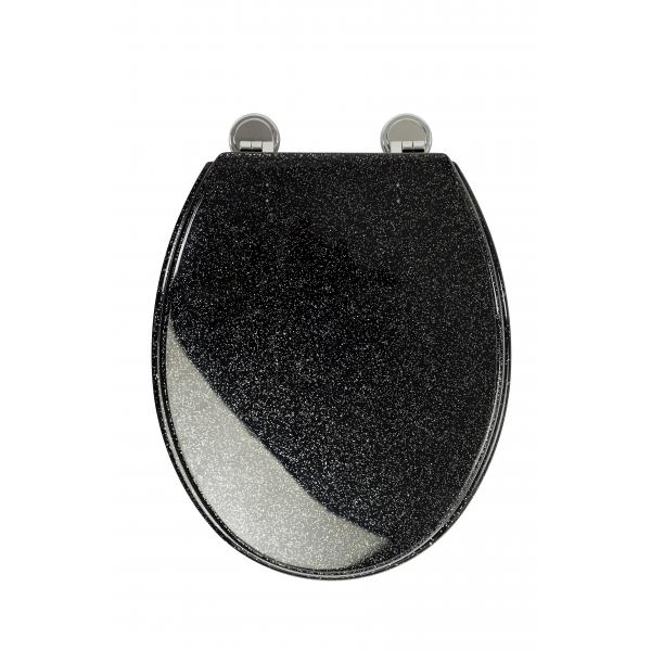 ... WL101021 Black Glitter Resin Toilet Seat Head On