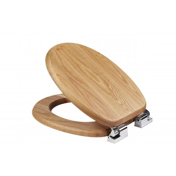 Bloomfield Solid Oak Toilet Seat With Soft Close Croydex