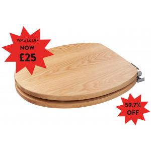 Fitzroy Solid Oak Toilet Seat with Soft Close
