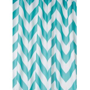 Aqua Chevron Textile Shower Curtain