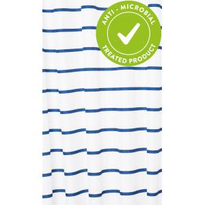 Navy Pinstripe Textile Shower Curtain