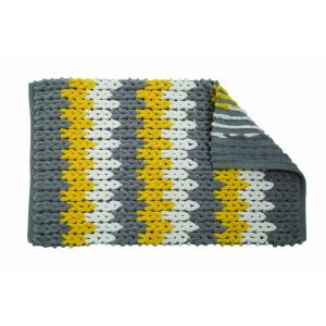 Grey, White & Yellow Patterned Bathroom Mat